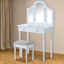 Wooden Furniture Makeup Cosmetics Large Dressing Table Set with Mirror