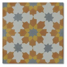 "Ahfir 8"" x 8"" Handmade Cement Tile in Multi-Color"