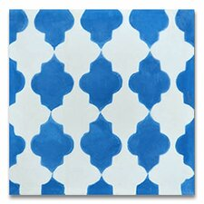 "Tafraout 8"" x 8"" Cement Tile in Blue and White"
