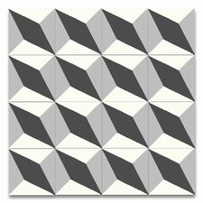 "Diamond 8"" x 8"" Handmade Cement Tile in Black and Gray"