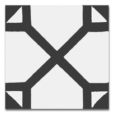 """Amoud 8"""" x 8"""" Handmade Cement Tile in Black and White"""