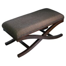 Large Upholstered Cocktail X-Leg Bench