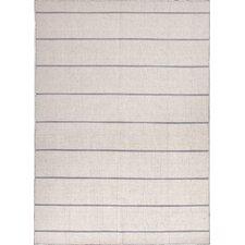 C. L. Dhurries Ivory & Gray Stripe Area Rug