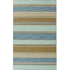 C. L. Dhurries Blue/Tan Stripe Area Rug