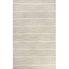 C. L. Dhurries Gray & Ivory Stripe Area Rug