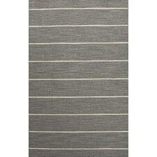 C. L. Dhurries Gray/Ivory Stripe Area Rug