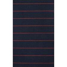 C. L. Dhurries Blue/Red Stripe Area Rug