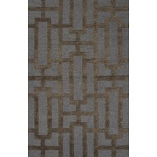 City Blue / Brown Geometric Area Rug