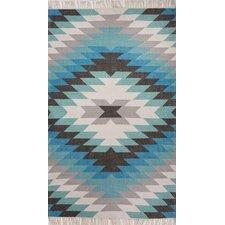 Desert Blue & Gray Tribal Indoor/Outdoor Area Rug