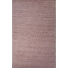 Basis Wool and Art Silk Solids/Handloom Silver Pink Area Rug