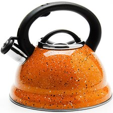 2.95-qt. Stainless Steel and Enamel Whistling Kettle