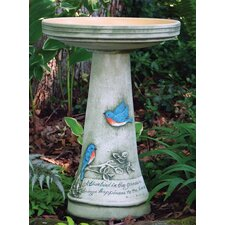 Burley Clay Handpainted Bluebird Bird Bath