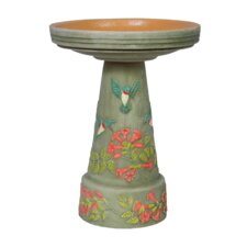 Burley Clay Handpainted Hummingbird Bird Bath