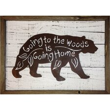 """Rustic Reclaimed Black Bear """"Going to the Woods is Going Home"""" Frame Wall Décor"""