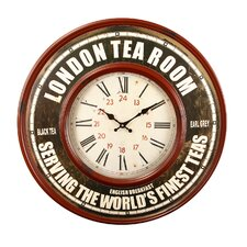 "Oversized 23.2"" Retro Round Roman Numerals ""London Tea Room"" Wall Hanging Clock"
