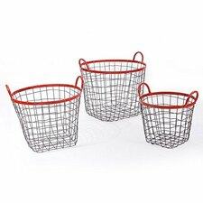 3 Piece Multi-Purpose Oval Iron Wired Basket Set