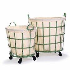 2 Piece Round Rolling Laundry and Storage Basket Set