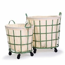 2 Piece Round Rolling Laundry and Storage Basket Set