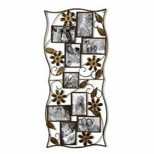 9 Opening Decorative Bronze-Color Iron Photo Collage Wall Hanging Picture Frame
