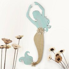 Decorative Distressed Mermaid Iron and Linen Burlap Widget Wall Decor