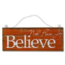 """Believe"" Wall Décor in Burnt Orange White"