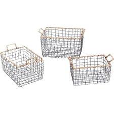 3 Piece Multi-Purpose Rectangular Iron Wired Basket Set