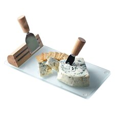 Tempered Glass Geneva Cheese Board with Serving Tools