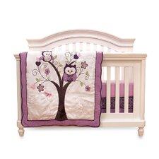 Plum Owl Meadow 4 Piece Crib Bedding Set