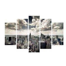 NYC New York Skyline #3 5 Piece Photographic Print on Wrapped Canvas Set