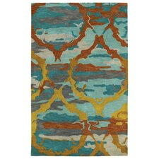 Brushstrokes Teal Area Rug I