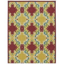 A Breath of Fresh Air Yellow/Red Indoor/Outdoor Area Rug