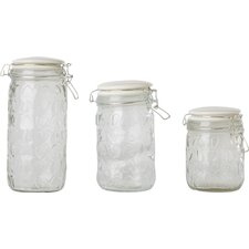 Glass Embossed Storage Jar Set