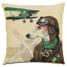 Sofakissen Hund als Bomberpilot in Grün aus 100% Baumwolle
