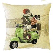 Kissenbezug Hunde auf einem Grünen Motorroller