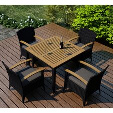 Arbor 5 Piece Dining Set with Cushion (Set of 5)