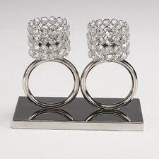 Teelichthalter Louise aus Aluminium / Glaskristall