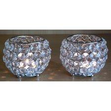 2-tlg. Kerzenständer-Set Kugel Crystallights