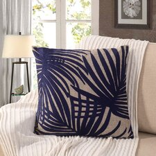 Embroidered Palm Leaf Throw Pillow