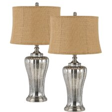 "Sarasota 3-Way Glass 31"" H Table Lamp with Drum Shade (Set of 2)"