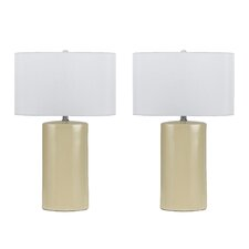 """Minorca 3 Way 27"""" H Table Lamp with Drum Shade (Set of 2)"""