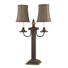 """Buffet 2 Light 28"""" H Table Lamp with Bell Shade"""
