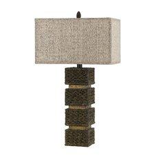 "Rattan 32"" H Table Lamp with Rectangular Shade"
