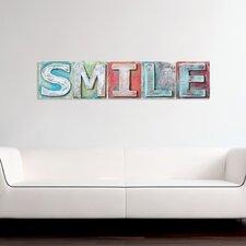 Wanddekoration Schriftzug Smile