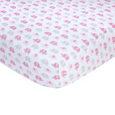 Pink Elephant Sateen Crib Fitted Sheet