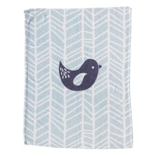 Sparrow Bird Printed Plush Blanket