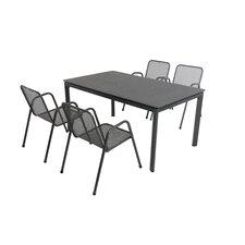 5-tlg. Esstisch-Set Objekt / Alutapo