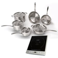 EarthChef 6-Piece Professional Cookware Set with Silver Induction Stove