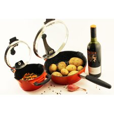 Virgo 4 Piece Non-Stick 1.6-qt Casserole and 10'' Skillet Set with Lids