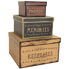 3 Piece Keepsakes Square Box Set