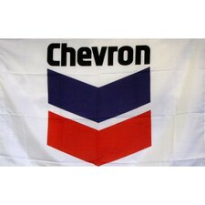 Chevron Gas Oil Logo with Words Traditional Flag